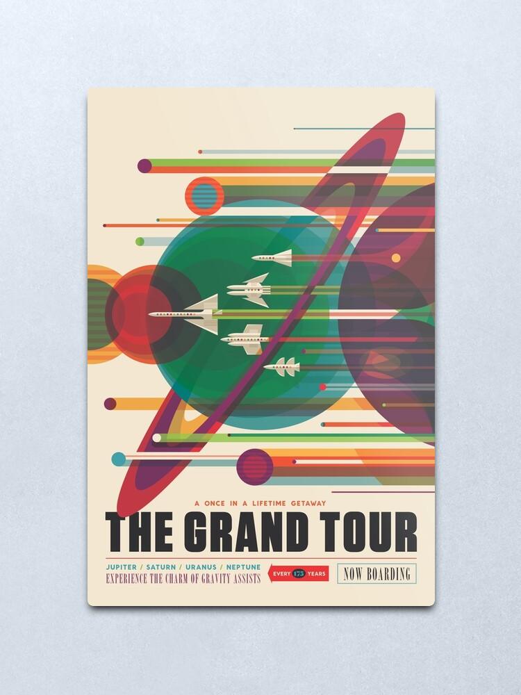 Alternate view of Retro Space Poster - The Grand Tour Metal Print