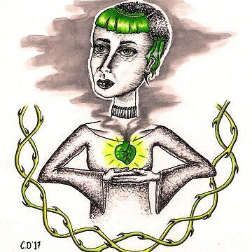 Heart of Glas original ink drawing by GirsaGlas