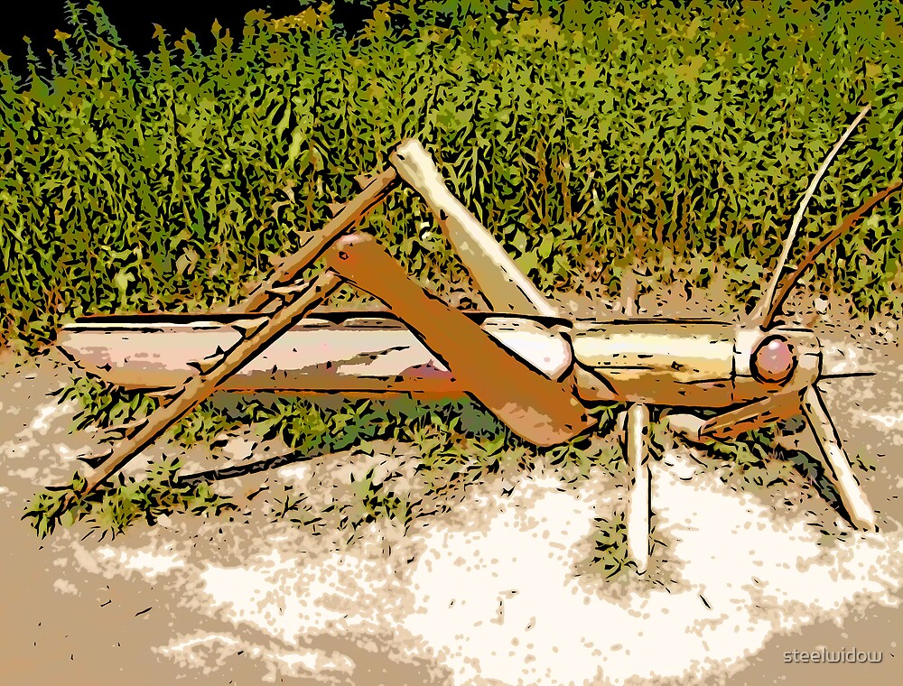 Comic Abstract Grasshopper by steelwidow