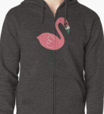 Campsite Flamingos Zipped Hoodie