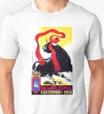 1956 Pamplona Spain Running of the Bulls Poster T-Shirt