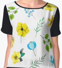 Watercolor Pattern with Yellow Blue Flowers Chiffon Top