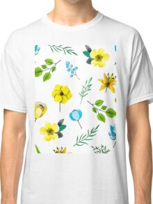 Watercolor Pattern with Yellow Blue Flowers Classic T-Shirt