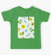 Watercolor Pattern with Yellow Blue Flowers Kids Clothes
