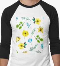 Watercolor Pattern with Yellow Blue Flowers Men's Baseball ¾ T-Shirt