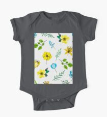 Watercolor Pattern with Yellow Blue Flowers One Piece - Short Sleeve