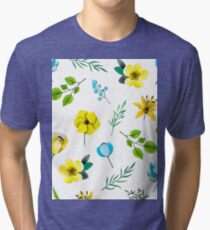 Watercolor Pattern with Yellow Blue Flowers Tri-blend T-Shirt