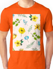 Watercolor Pattern with Yellow Blue Flowers Unisex T-Shirt