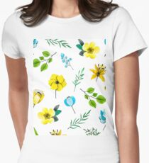 Watercolor Pattern with Yellow Blue Flowers Women's Fitted T-Shirt