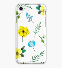 Watercolor Pattern with Yellow Blue Flowers iPhone Case/Skin