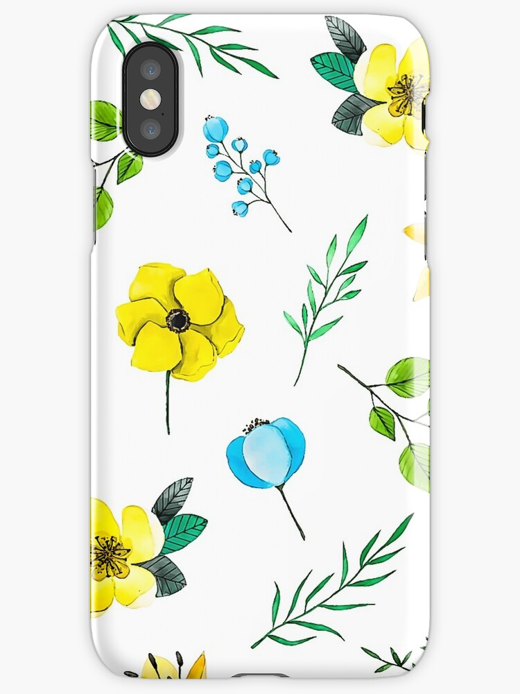 Watercolor Pattern with Yellow Blue Flowers by cybermall