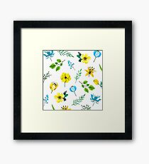Watercolor Pattern with Yellow Blue Flowers Framed Print