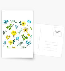 Watercolor Pattern with Yellow Blue Flowers Greeting Card