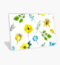 Watercolor Pattern with Yellow Blue Flowers Laptop Skin
