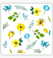 Watercolor Pattern with Yellow Blue Flowers Sticker