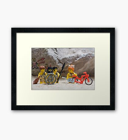 Inventing the wheel - Lego style Framed Print