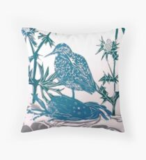 Sand Piper in Sea Holly Throw Pillow
