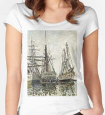 Claude Monet - Boats In A Harbour 1873 Women's Fitted Scoop T-Shirt