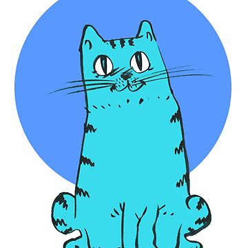 sweet blue cat cartoon style illustration by anticute
