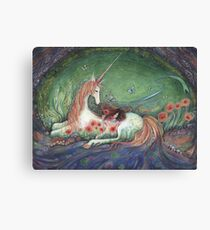 Unicorn and sleeping girl fantasy art by Liza Paizis Canvas Print