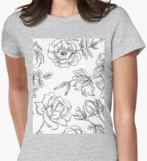 Spring Rose Pattern Womens Fitted T-Shirt