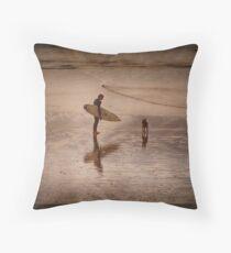 Surfer & Dog Throw Pillow