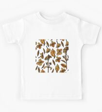 Yellow and Brown Flowers and Leaves Kids Tee