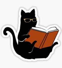 Cat Book Nerd Reader Funny Glasses Bookworm Gift Sticker