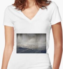 Splashing water from the ground in the park Women's Fitted V-Neck T-Shirt