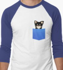Funny Chihuahua In A Pocket Cute Realistic Puppy  Men's Baseball ¾ T-Shirt