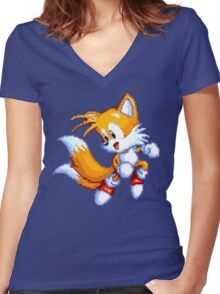 Tails Pixel Art Women's Fitted V-Neck T-Shirt
