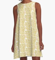 Leaves of Gold Pattern Design A-Line Dress