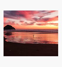 Deep red beach sunset Photographic Print