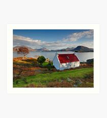 The famous Red Roof cottage at Upper Loch Torridon Scotland  Art Print