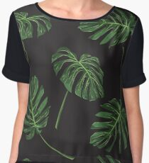 Tropical monstera leaves pattern on black Women's Chiffon Top