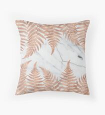 Rose gold ferns on marble Throw Pillow