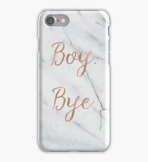 Boy. Bye. Rose gold on marble iPhone Case/Skin