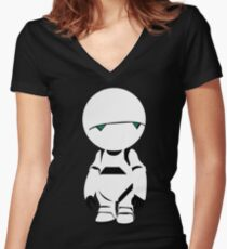 the hitchhiker's guide to the galaxy depressed robot Women's Fitted V-Neck T-Shirt