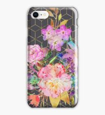 Modern watercolor floral and gold geometric cubes iPhone Case/Skin