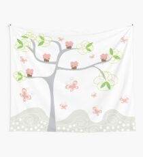 Whimsical Pink Cupcakes Tree Wall Tapestry
