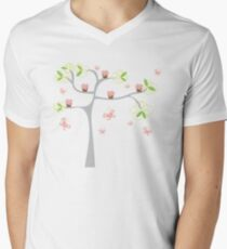Whimsical Pink Cupcakes Tree Mens V-Neck T-Shirt