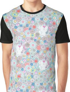 White cats hiding in the flowers Graphic T-Shirt