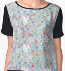 White cats hiding in the flowers Chiffon Top
