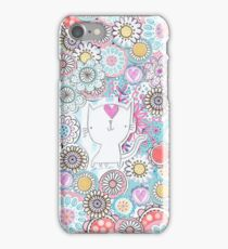 White cats hiding in the flowers iPhone Case/Skin