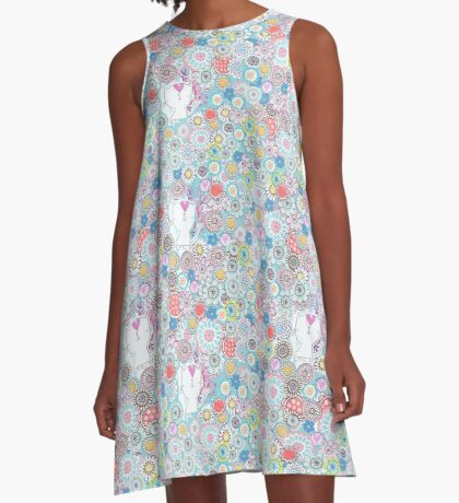 White cats hiding in the flowers A-Line Dress