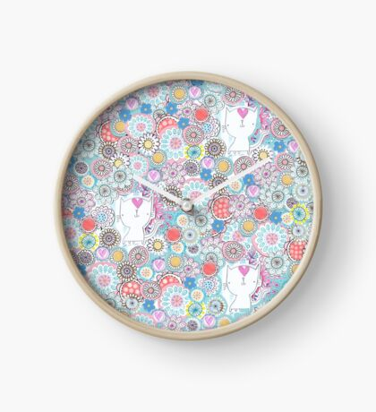 White cats hiding in the flowers Clock