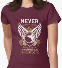 Never underestimate the power of a woman from Arizona  Womens Fitted T-Shirt
