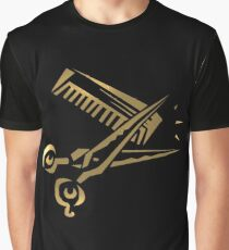 golden scissors and comb in black Graphic T-Shirt