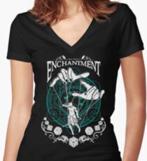 Enchantment - D&D Magic School Series : White Women's Fitted V-Neck T-Shirt