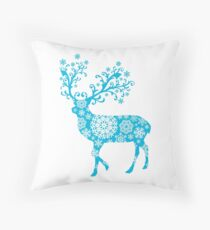 Turquoise blue Christmas deer Throw Pillow